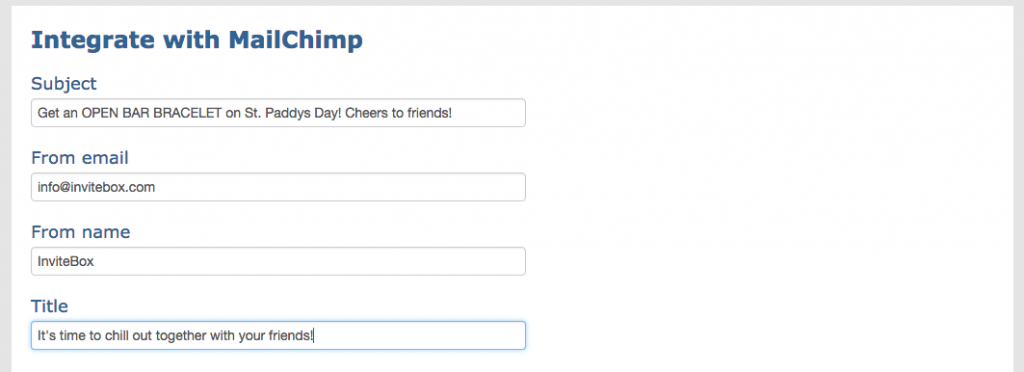Invitebox MailChimp fields